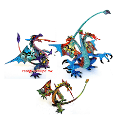 Catálogo de Alebrije con formas de Dragón (12 cm alto o mas)